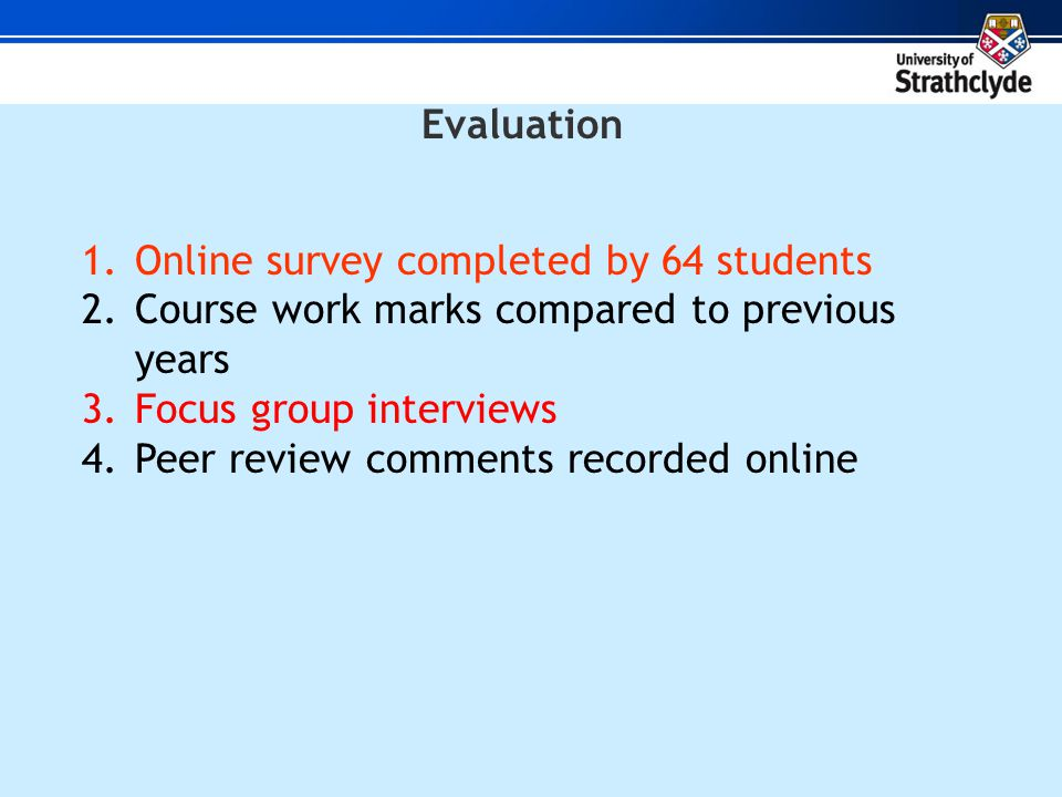 Evaluation 1.Online survey completed by 64 students 2.Course work marks compared to previous years 3.Focus group interviews 4.Peer review comments recorded online