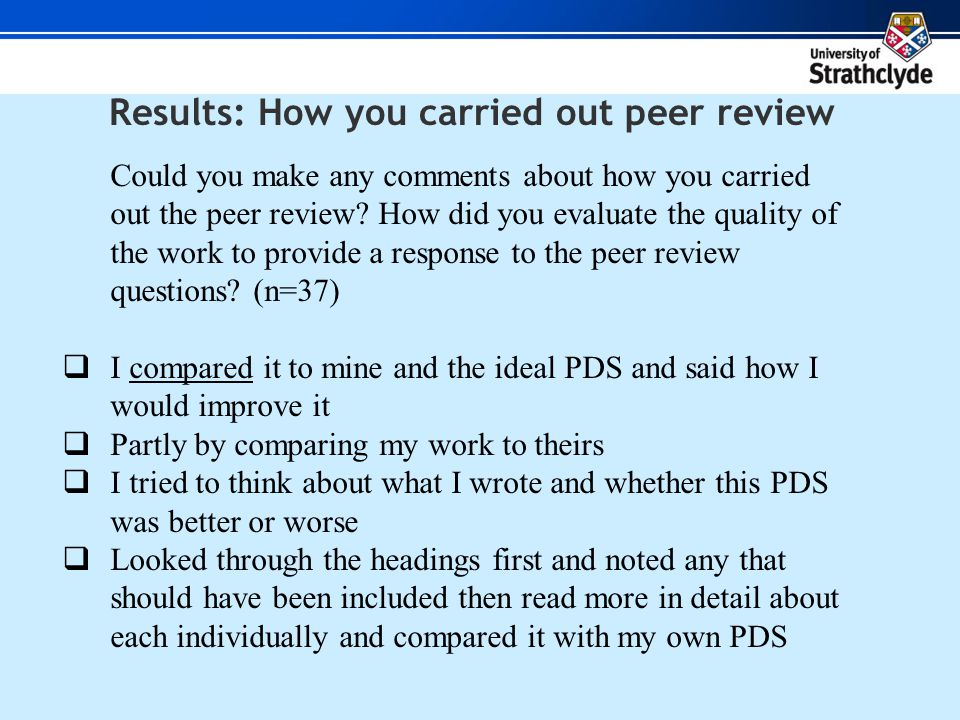 Results: How you carried out peer review Could you make any comments about how you carried out the peer review.