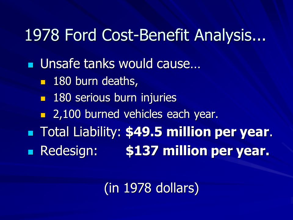 1978 Ford Cost-Benefit Analysis... Unsafe tanks would cause… Unsafe tanks would cause… 180 burn deaths, 180 burn deaths, 180 serious burn injuries 180