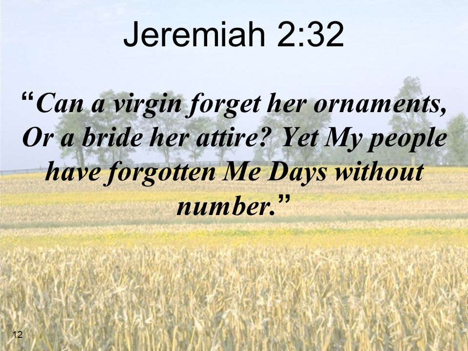 12 Jeremiah 2:32 Can a virgin forget her ornaments, Or a bride her attire.