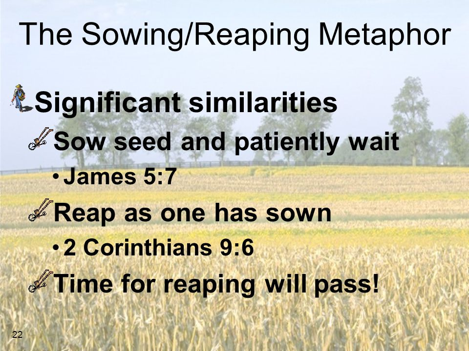 22 The Sowing/Reaping Metaphor Significant similarities Sow seed and patiently wait James 5:7 Reap as one has sown 2 Corinthians 9:6 Time for reaping will pass!