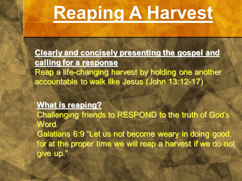 Reaping A Harvest Clearly and concisely presenting the gospel and calling for a response Reap a life-changing harvest by holding one another accountable to walk like Jesus (John 13:12-17) What is reaping.
