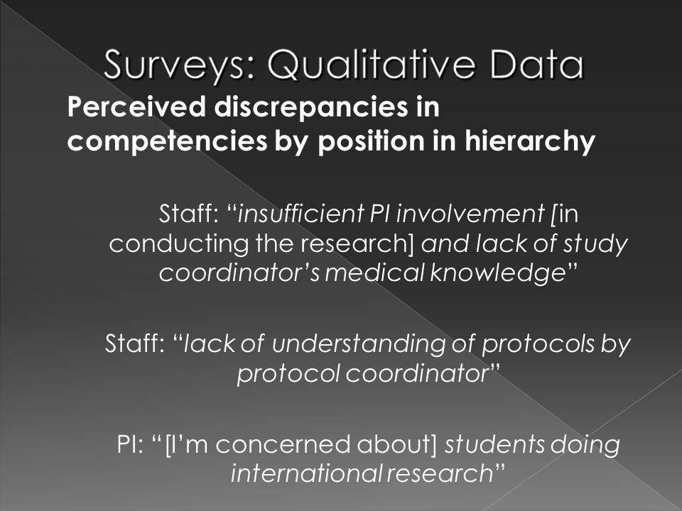 "Perceived discrepancies in competencies by position in hierarchy Staff: ""insufficient PI involvement [in conducting the research] and lack of study co"