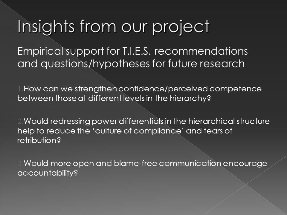 Empirical support for T.I.E.S. recommendations and questions/hypotheses for future research 1. How can we strengthen confidence/perceived competence b