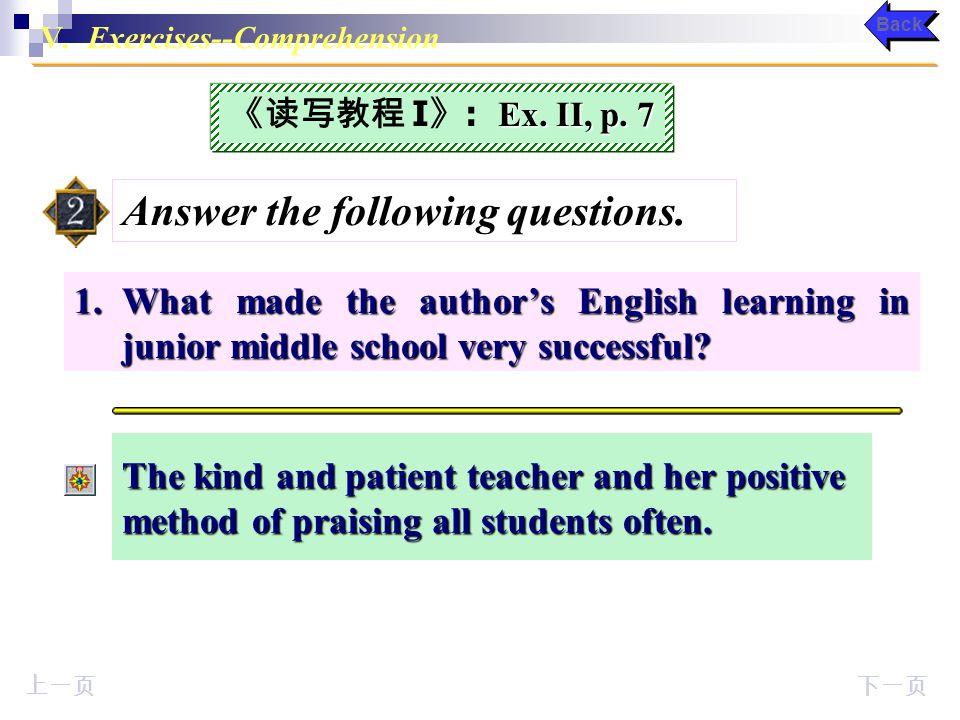 V. Keys to Exercises on Page 7-11 Comprehension Ex.