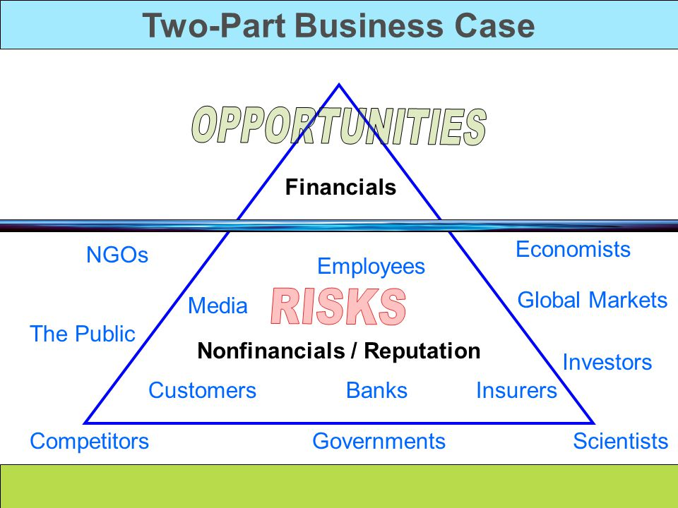 Two-Part Business Case Nonfinancials / Reputation Financials Employees Customers Media Economists Scientists NGOs Competitors Global Markets Governments Insurers The Public Investors Banks