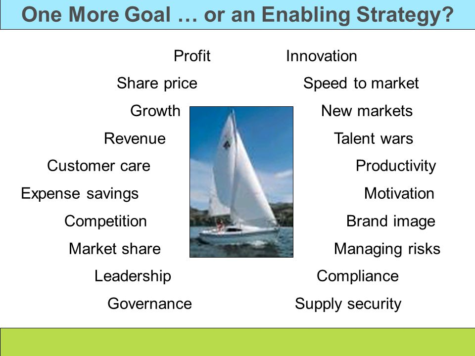 One More Goal … or an Enabling Strategy.