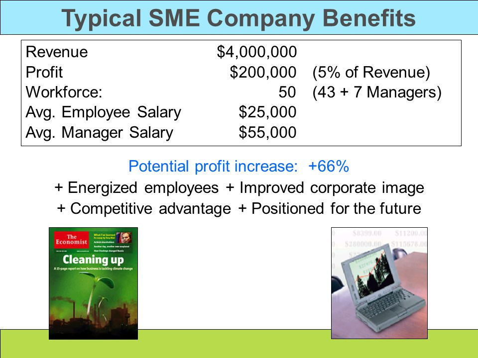 Typical SME Company Benefits Potential profit increase: +66% + Energized employees + Improved corporate image + Competitive advantage + Positioned for the future Revenue $4,000,000 Profit $200,000 (5% of Revenue) Workforce: 50 (43 + 7 Managers) Avg.