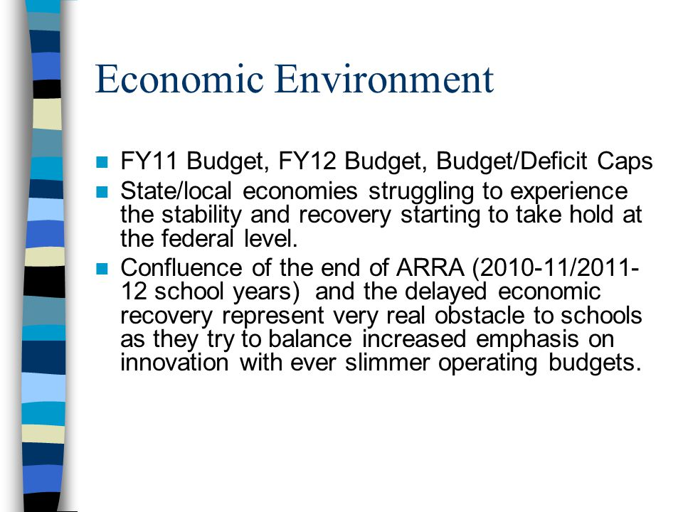 Economic Environment FY11 Budget, FY12 Budget, Budget/Deficit Caps State/local economies struggling to experience the stability and recovery starting