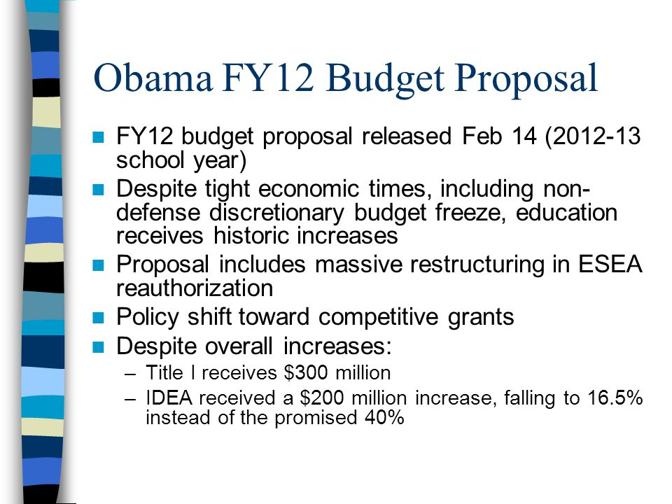 Obama Budget Proposal New Authority (change relative to consolidated programs cumulative total) Consolidated Programs Effective Teachers and Leaders - $447.7 m  Ready to Teach  Teacher Quality State Grants Teacher and Leader Innovation Fund + 89.4 m  Advanced Credentialing  Teacher Incentive Fund Teacher and Leader Pathways + $113.9 m  School Leadership Teach for America  Teacher Quality Partnership  Teachers for a Competitive Tomorrow  Transition to Teaching Effective Teaching and Learning: STEM + $25.5 m  Mathematics and Science Partnership Effective Teaching and Learning: Well Rounded Education + $20.1 m  Teaching American History  Academies for American History and Civics  Civic Education  Close-Up Fellowships  Excellence in Economic Education  Foreign Language Assistance  Arts in Education College Pathways and Accelerated Learning - $17.3 m  Advanced Placement  High School Graduation Initiative  Javits Gifted and Talented Education Successful, Safe and Healthy Students Level Funded  Alcohol Abuse Reduction  Elementary and Secondary School Counseling  Foundations for Learning  Mental Health integration in Schools  Physical Education  Safe and Drug-Free Schools and Communities National Activities Expanding Educational Options- $37.1 m  Charter School Grants  Credit Enhancement for Charter School Facilities  Parental Information and Resource Centers  Smaller Learning Communities  Voluntary Public School Choice