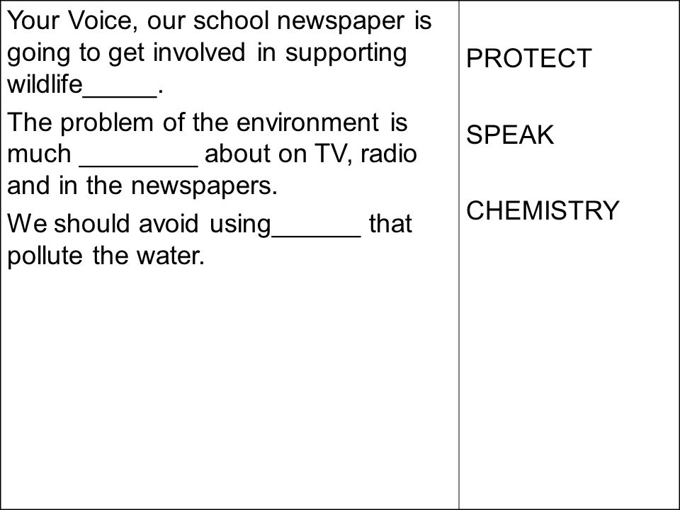 Your Voice, our school newspaper is going to get involved in supporting wildlife_____. The problem of the environment is much ________ about on TV, ra