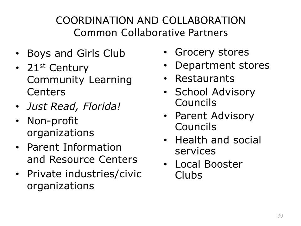 30 COORDINATION AND COLLABORATION Common Collaborative Partners Boys and Girls Club 21 st Century Community Learning Centers Just Read, Florida.