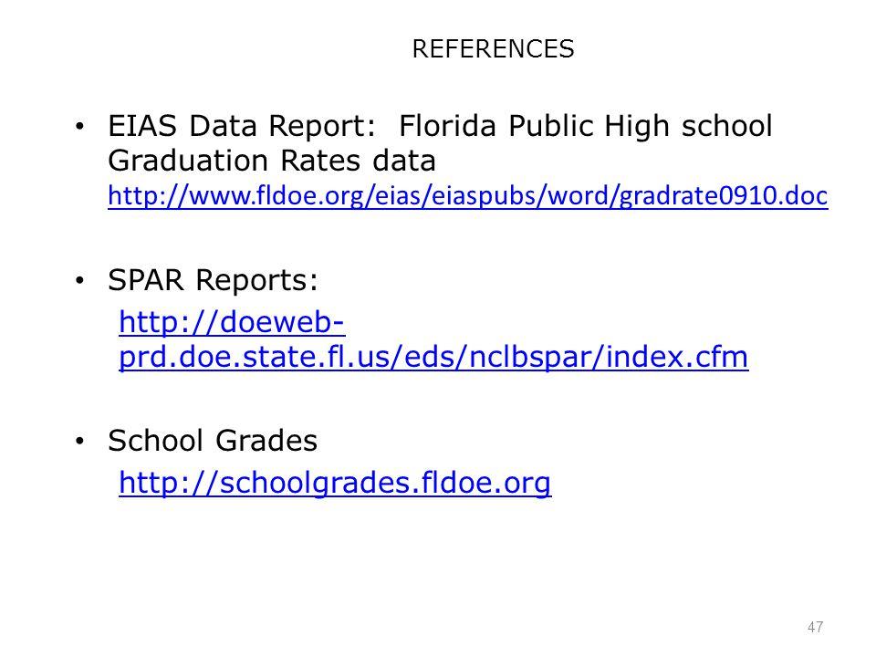 47 REFERENCES EIAS Data Report: Florida Public High school Graduation Rates data http://www.fldoe.org/eias/eiaspubs/word/gradrate0910.doc http://www.fldoe.org/eias/eiaspubs/word/gradrate0910.doc SPAR Reports: http://doeweb- prd.doe.state.fl.us/eds/nclbspar/index.cfm School Grades http://schoolgrades.fldoe.org