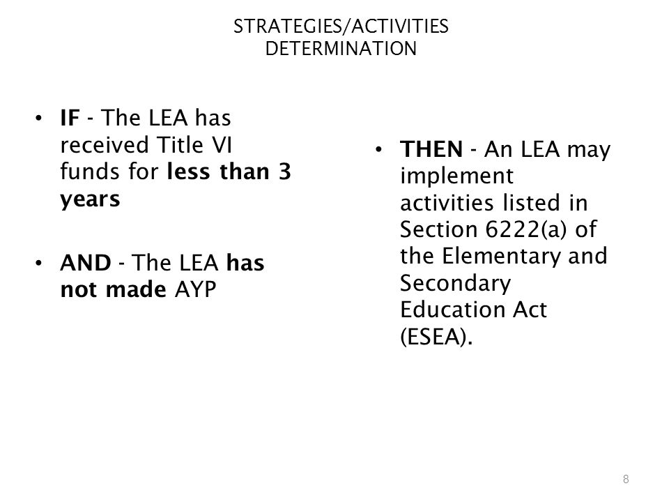8 STRATEGIES/ACTIVITIES DETERMINATION IF - The LEA has received Title VI funds for less than 3 years AND - The LEA has not made AYP THEN - An LEA may implement activities listed in Section 6222(a) of the Elementary and Secondary Education Act (ESEA).