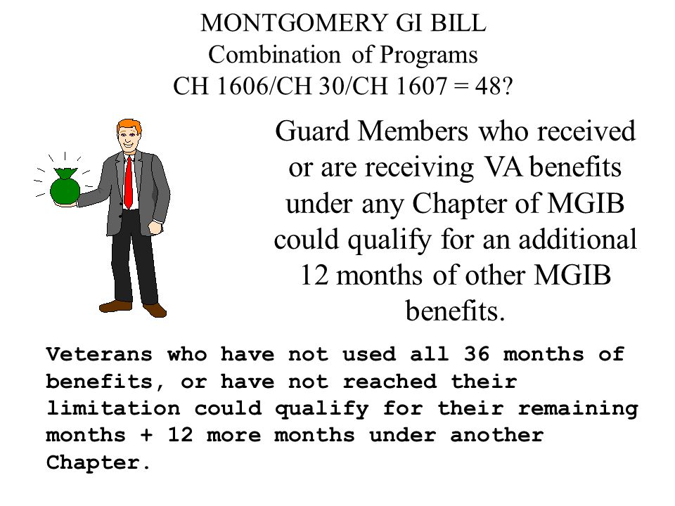 MONTGOMERY GI BILL Combination of Programs CH 1606/CH 30/CH 1607 = 48.
