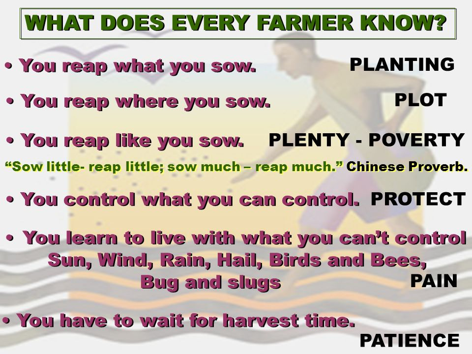 WHAT DOES EVERY FARMER KNOW? You reap what you sow. You reap where you sow. You reap like you sow. You control what you can control. You learn to live