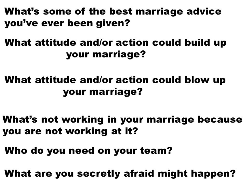 What's some of the best marriage advice you've ever been given? What's not working in your marriage because you are not working at it? Who do you need
