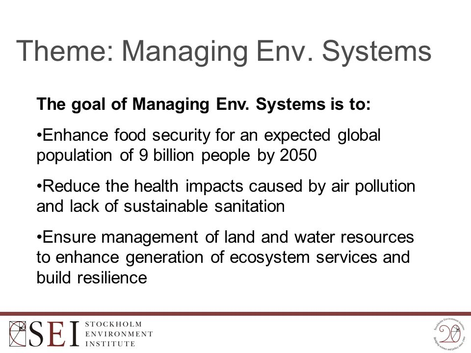 Theme: Managing Env. Systems The goal of Managing Env. Systems is to: Enhance food security for an expected global population of 9 billion people by 2