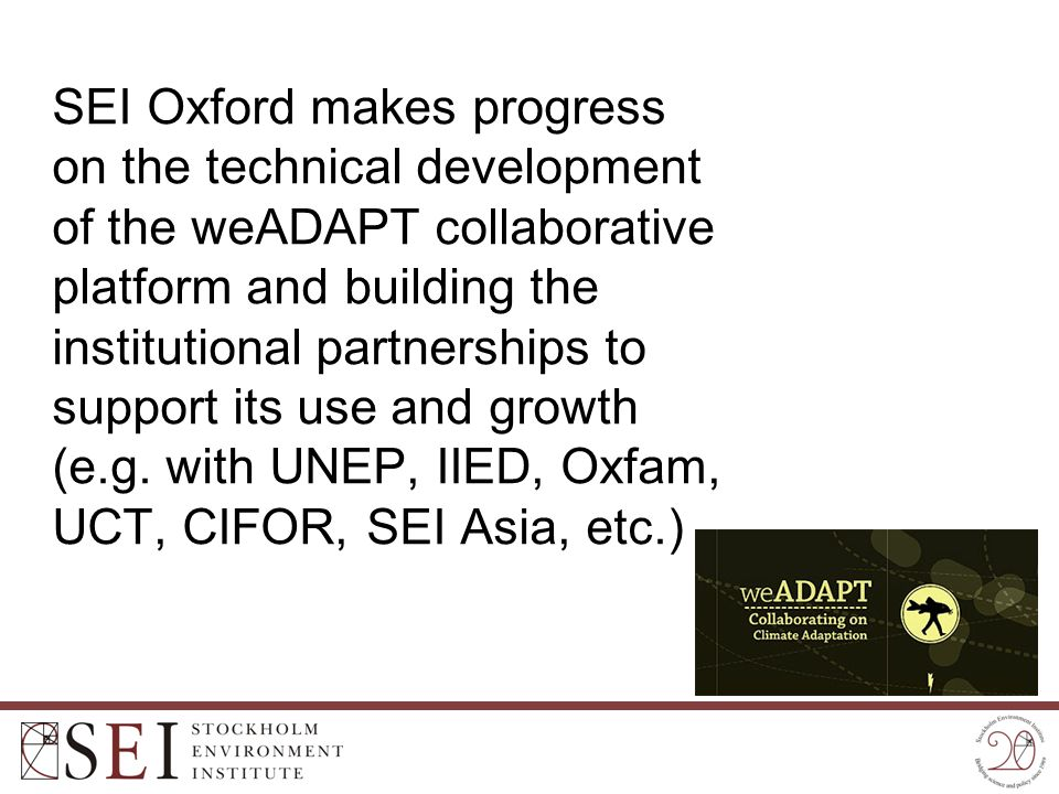 SEI Oxford makes progress on the technical development of the weADAPT collaborative platform and building the institutional partnerships to support it