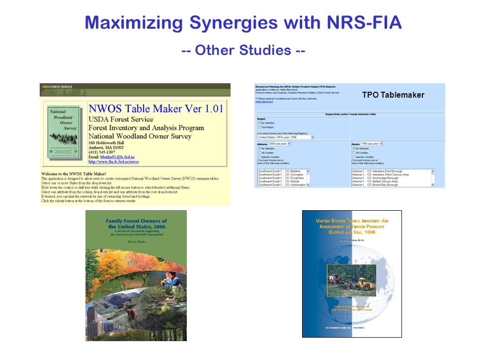 Maximizing Synergies with NRS-FIA -- Other Studies -- TPO Tablemaker