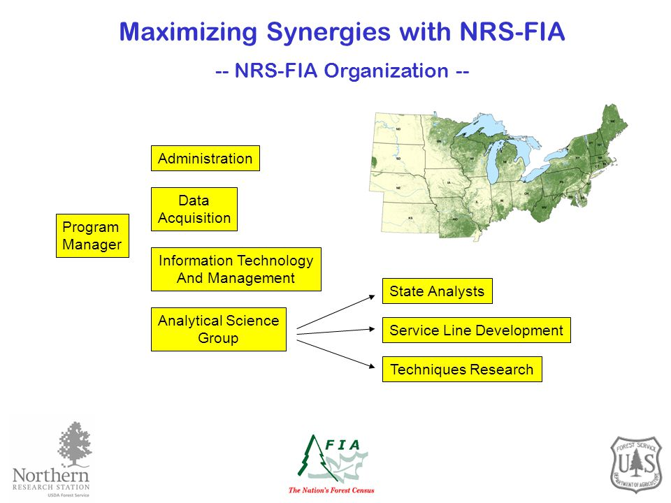 Program Manager Data Acquisition Administration Information Technology And Management Analytical Science Group Maximizing Synergies with NRS-FIA -- NRS-FIA Organization -- State AnalystsService Line Development Techniques Research