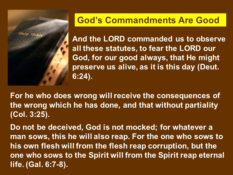 God's Commandments Are Good For he who does wrong will receive the consequences of the wrong which he has done, and that without partiality (Col.