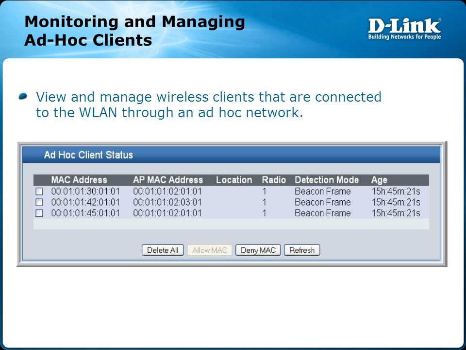 View and manage wireless clients that are connected to the WLAN through an ad hoc network.