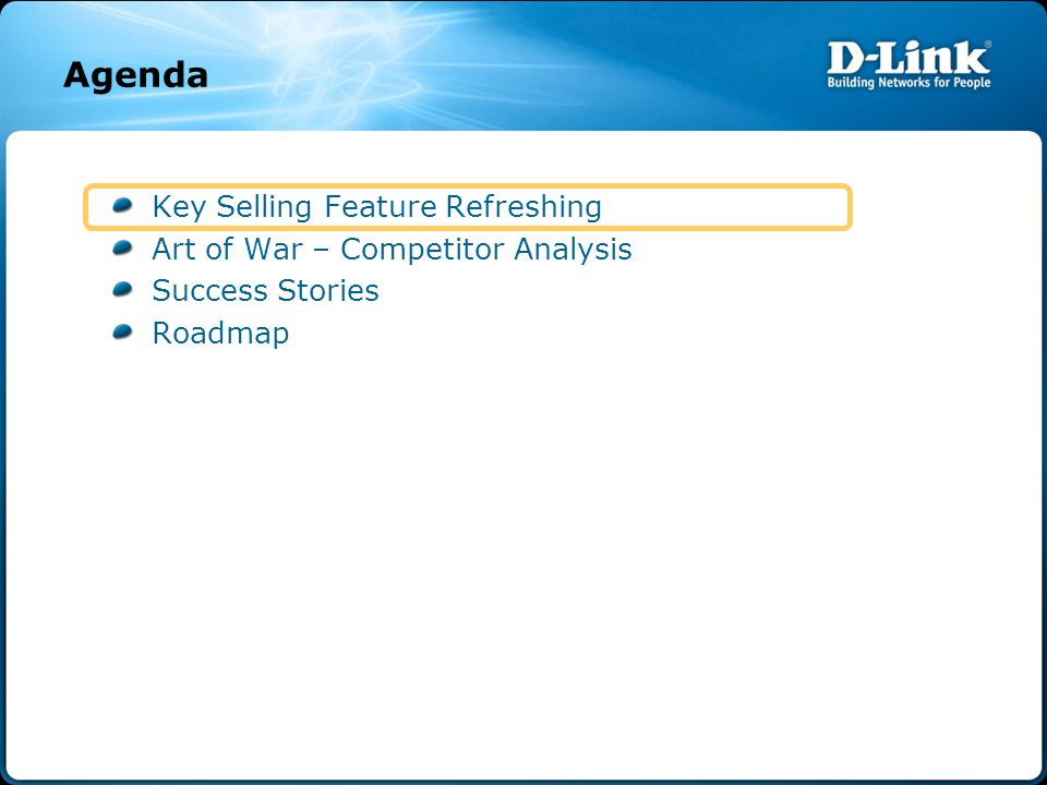 Agenda Key Selling Feature Refreshing Art of War – Competitor Analysis Success Stories Roadmap