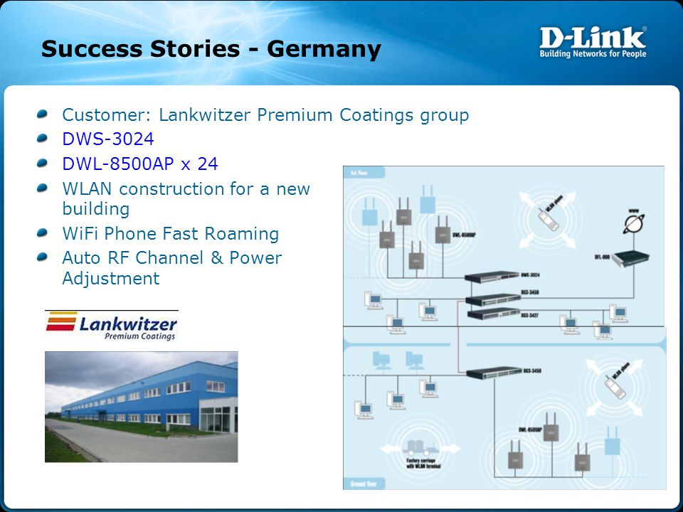 Success Stories - Germany Customer: Lankwitzer Premium Coatings group DWS-3024 DWL-8500AP x 24 WLAN construction for a new building WiFi Phone Fast Roaming Auto RF Channel & Power Adjustment