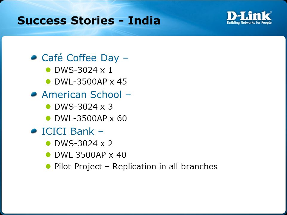 Success Stories - India Café Coffee Day – DWS-3024 x 1 DWL-3500AP x 45 American School – DWS-3024 x 3 DWL-3500AP x 60 ICICI Bank – DWS-3024 x 2 DWL 3500AP x 40 Pilot Project – Replication in all branches