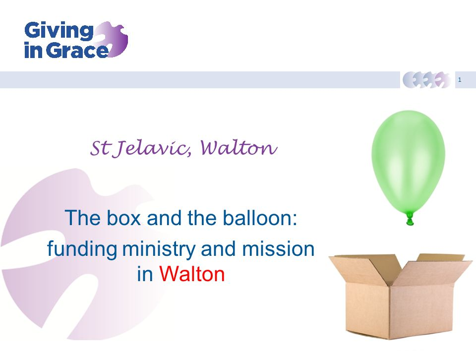 1 St Jelavic, Walton The box and the balloon: funding ministry and mission in Walton