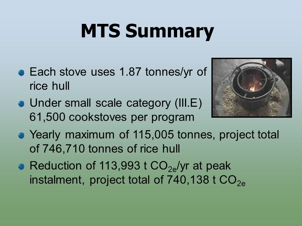 MTS Summary Yearly maximum of 115,005 tonnes, project total of 746,710 tonnes of rice hull Reduction of 113,993 t CO 2e /yr at peak instalment, project total of 740,138 t CO 2e Each stove uses 1.87 tonnes/yr of rice hull Under small scale category (III.E) 61,500 cookstoves per program
