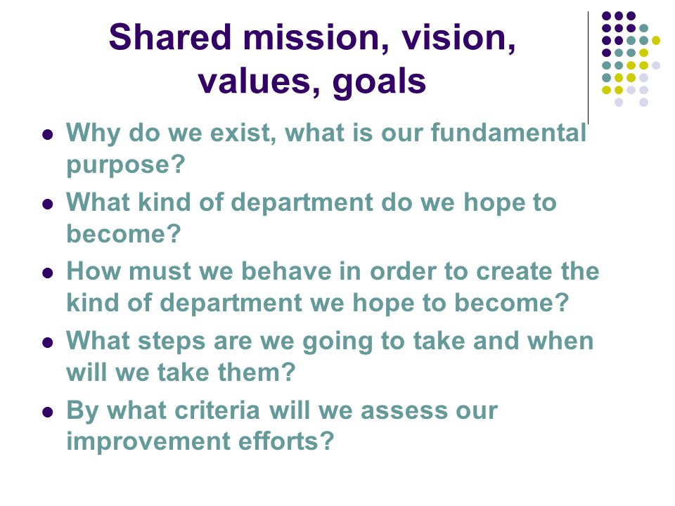 Shared mission, vision, values, goals Why do we exist, what is our fundamental purpose.