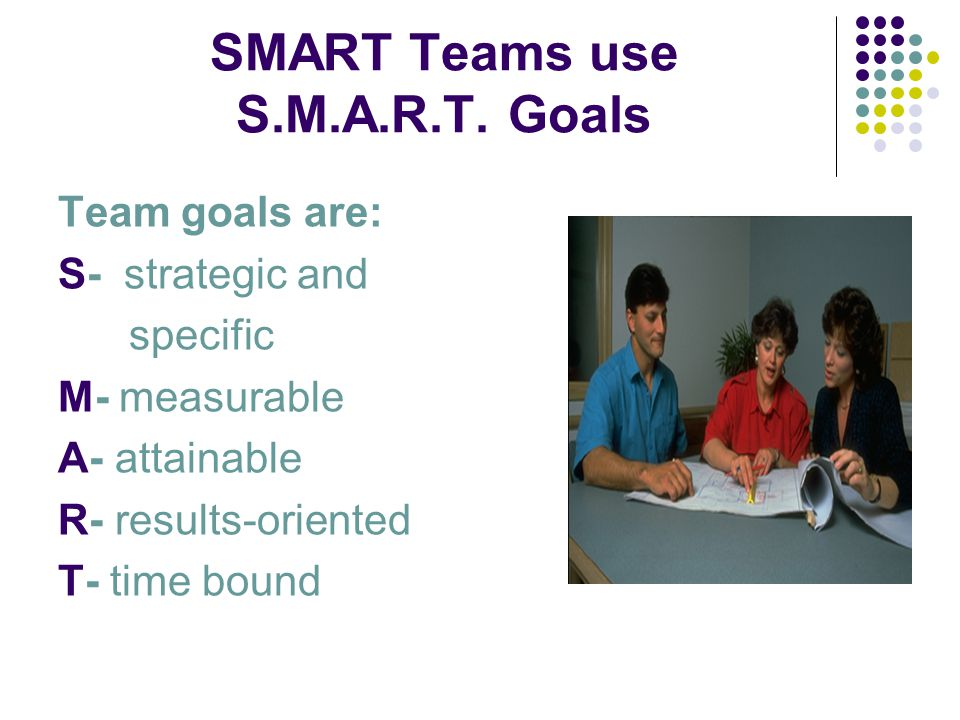 SMART Teams use S.M.A.R.T. Goals Team goals are: S- strategic and specific M- measurable A- attainable R- results-oriented T- time bound