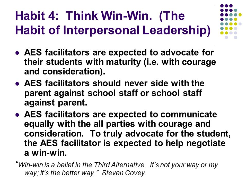 Habit 4: Think Win-Win. (The Habit of Interpersonal Leadership) AES facilitators are expected to advocate for their students with maturity (i.e. with