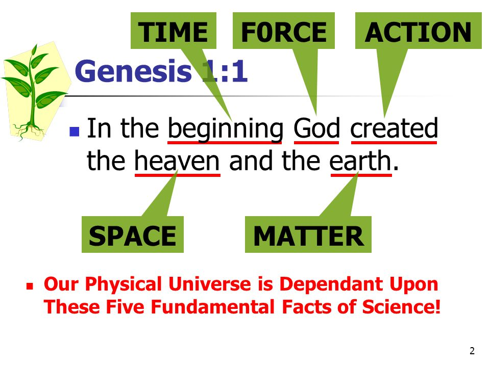 2 Genesis 1:1 TIMEF0RCE In the beginning God created the heaven and the earth.