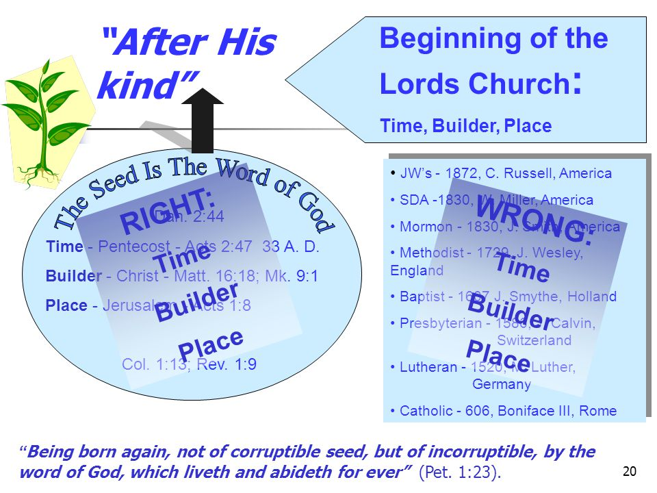 20 After His kind Dan.2:44 Time - Pentecost - Acts 2:47 33 A.