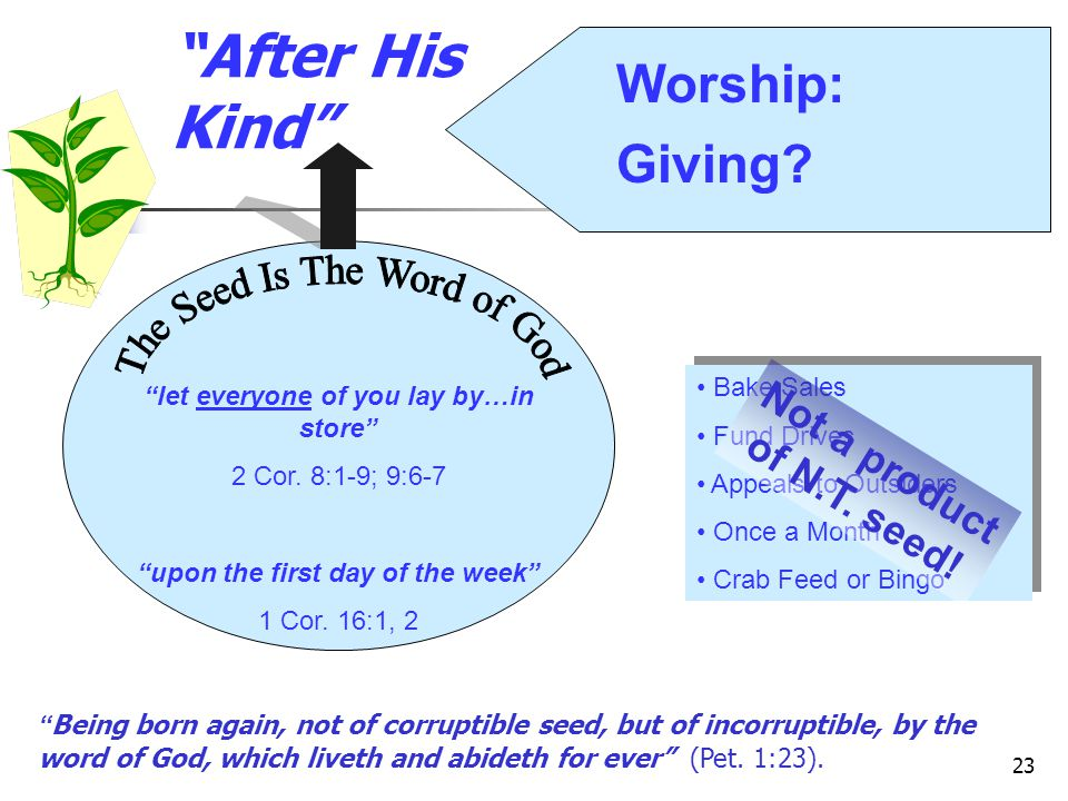 23 After His Kind let everyone of you lay by…in store 2 Cor.