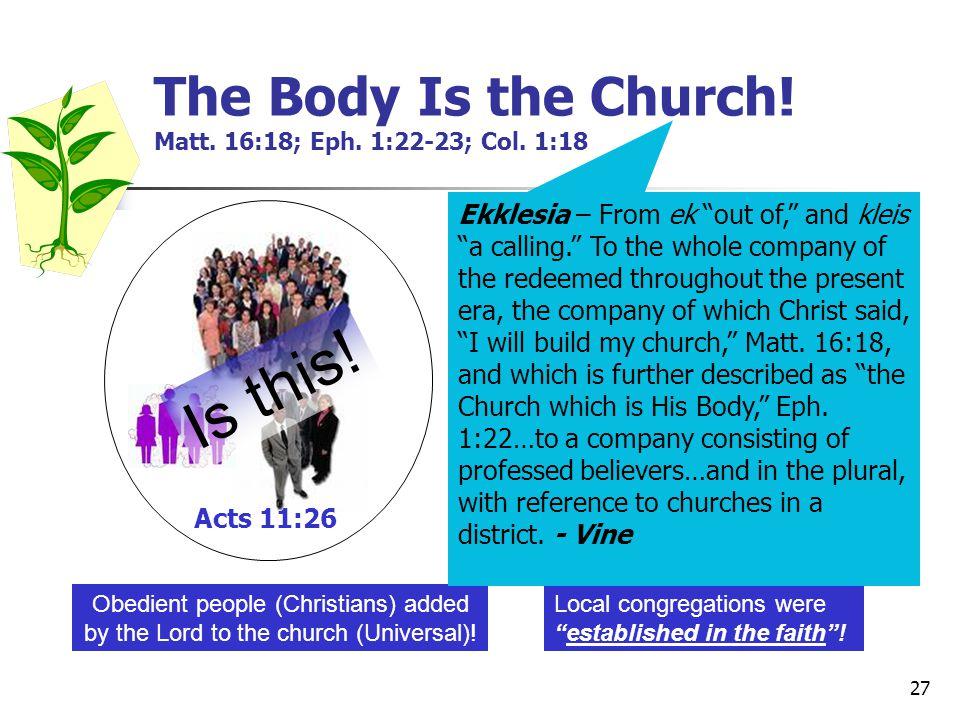 27 The Body Is the Church.Matt. 16:18; Eph. 1:22-23; Col.