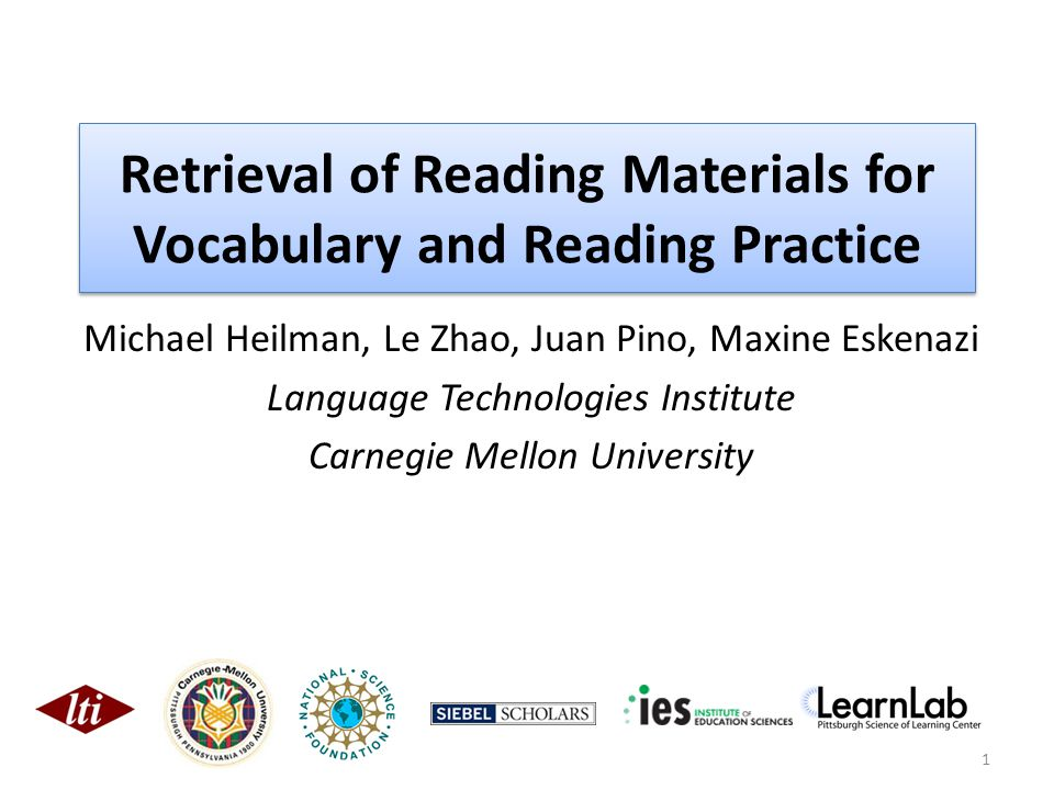 Open Issues Can language learners effectively and efficiently use such a system to search for reading materials directly, rather than reading what a teacher selects.
