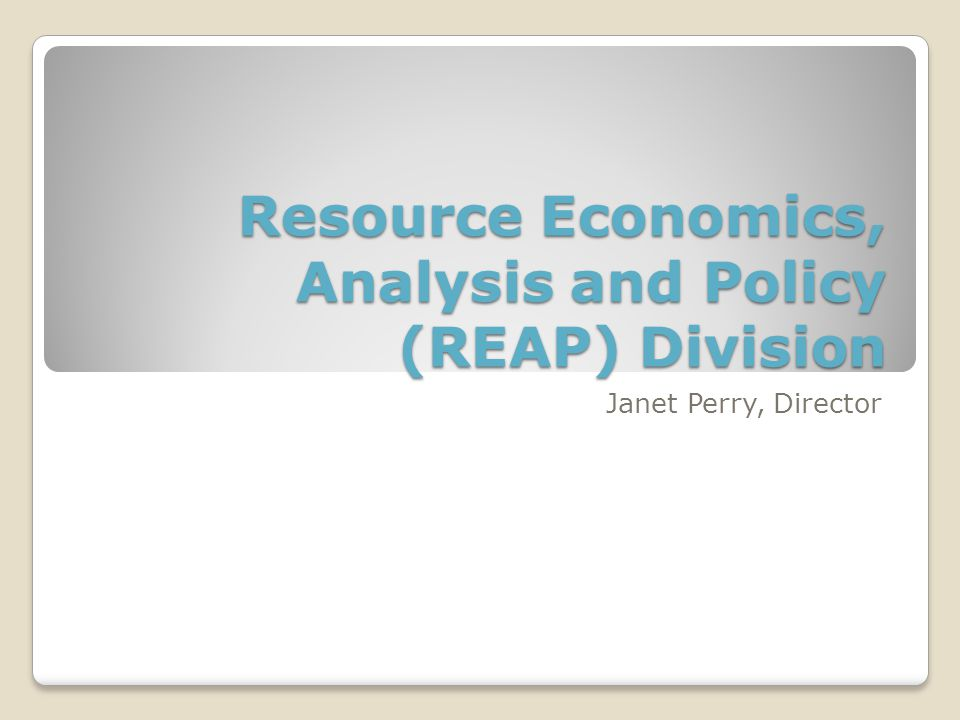 Resource Economics, Analysis and Policy (REAP) Division Janet Perry, Director