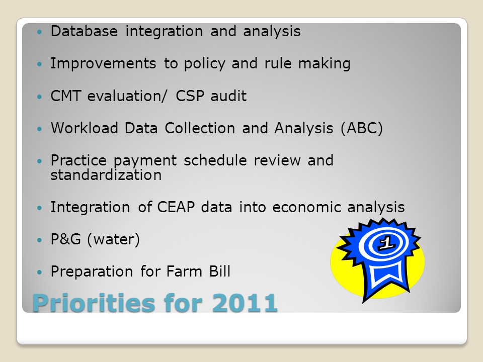 Priorities for 2011 Database integration and analysis Improvements to policy and rule making CMT evaluation/ CSP audit Workload Data Collection and Analysis (ABC) Practice payment schedule review and standardization Integration of CEAP data into economic analysis P&G (water) Preparation for Farm Bill
