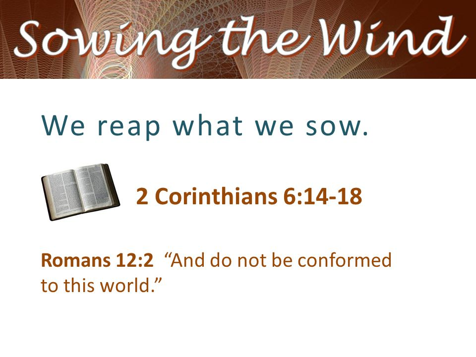 """We reap what we sow. 2 Corinthians 6:14-18 Romans 12:2 """"And do not be conformed to this world."""""""