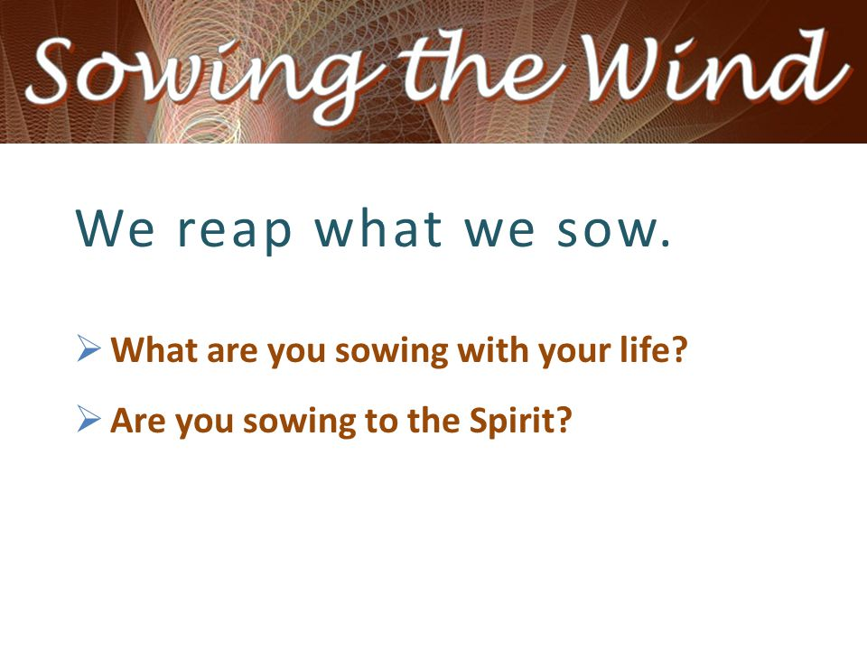 We reap what we sow.  What are you sowing with your life  Are you sowing to the Spirit