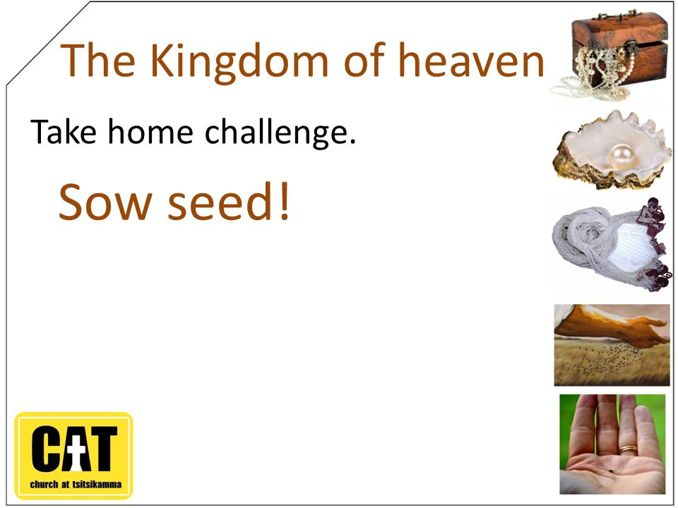 The Kingdom of heaven Take home challenge. Sow seed!