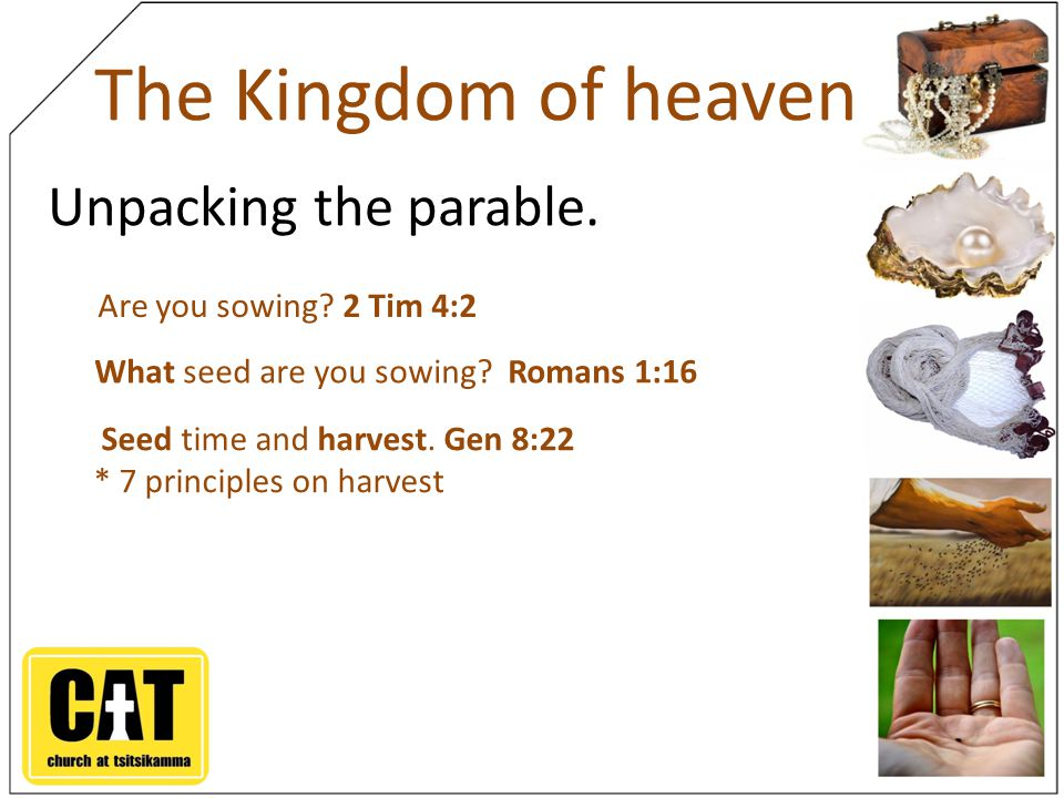The Kingdom of heaven Unpacking the parable.Seed time and harvest.