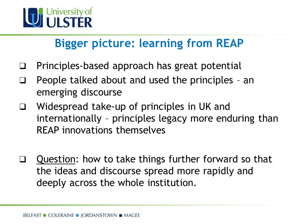Bigger picture: learning from REAP  Principles-based approach has great potential  People talked about and used the principles – an emerging discour