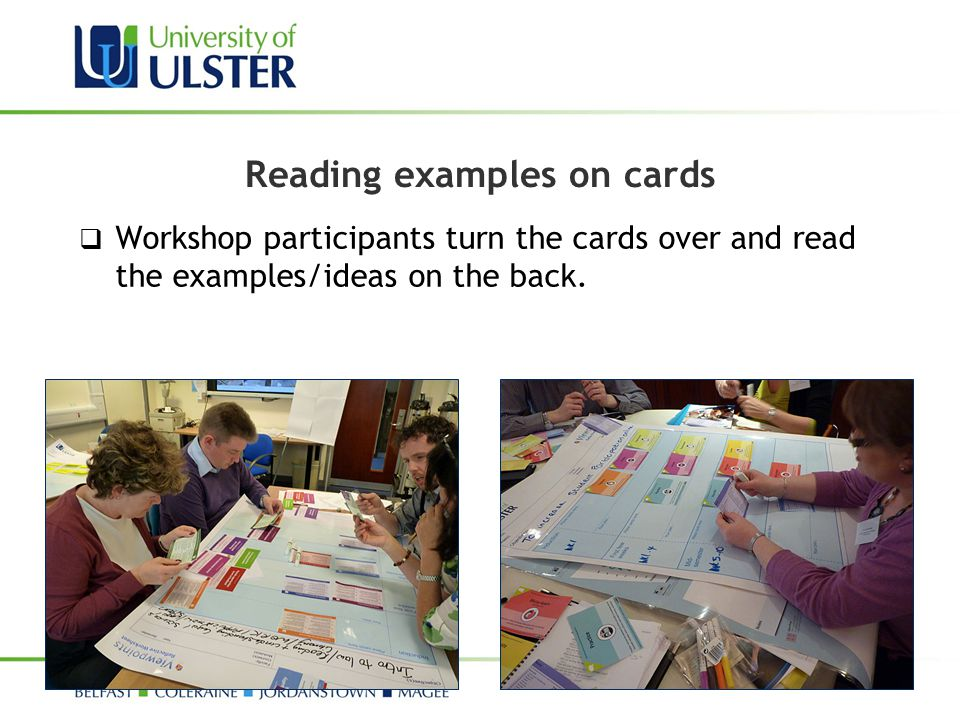 Reading examples on cards  Workshop participants turn the cards over and read the examples/ideas on the back.