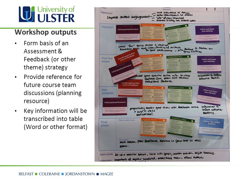 Workshop outputs Form basis of an Assessment & Feedback (or other theme) strategy Provide reference for future course team discussions (planning resou