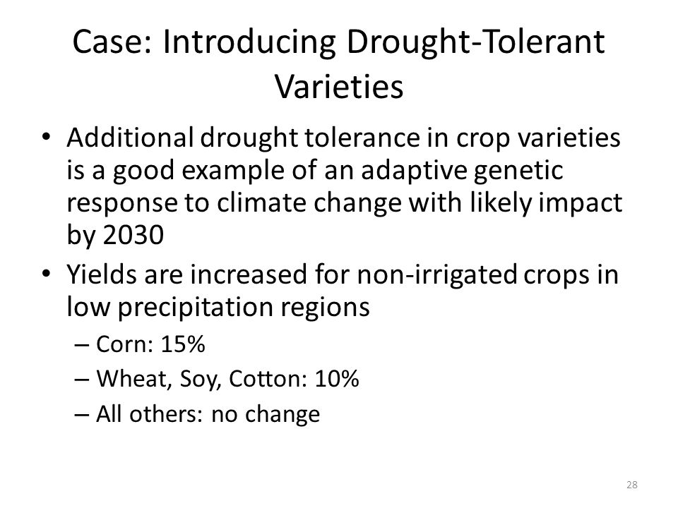 Case: Introducing Drought-Tolerant Varieties Additional drought tolerance in crop varieties is a good example of an adaptive genetic response to climate change with likely impact by 2030 Yields are increased for non-irrigated crops in low precipitation regions – Corn: 15% – Wheat, Soy, Cotton: 10% – All others: no change 28